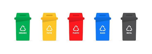 Caja de basura para reciclar el conjunto de iconos.