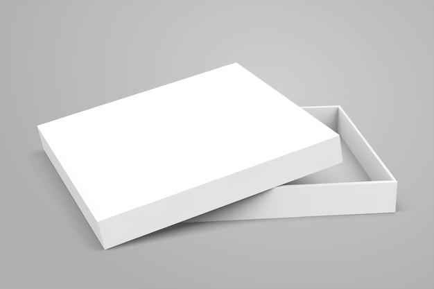 Caja blanca abierta en blanco sobre fondo gris claro en ilustración 3d