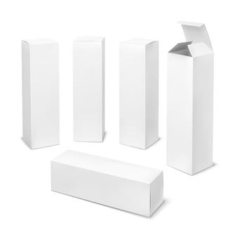 Caja blanca alta. cajas cosméticas de cartón paquete en blanco rectangular con formas verticales de productos de medicina de sombras