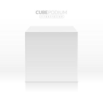 Caja blanca de bloque vacío realista en vista frontal