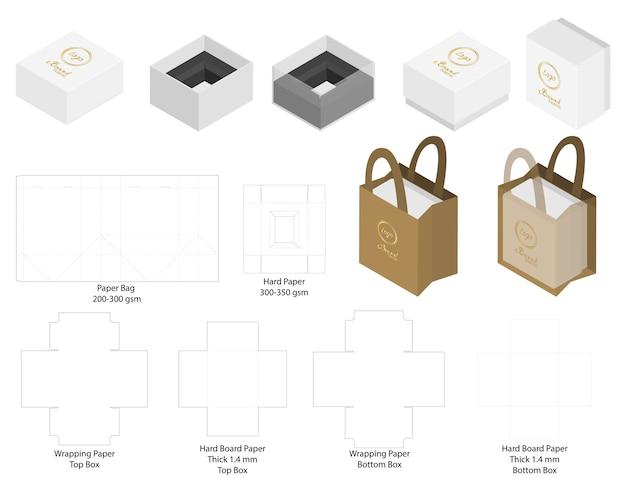 Caja y bolsa de papel conjunto maqueta con dieline