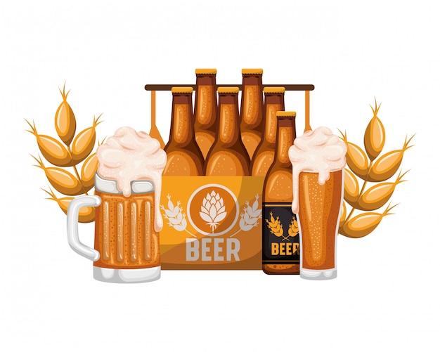 Caja con botellas de cerveza y vidrio icono aislado
