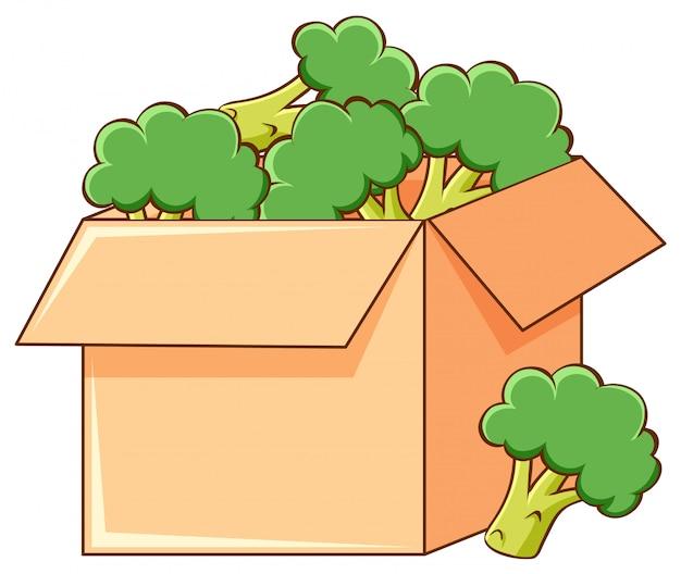 Caja de brócoli sobre fondo blanco.
