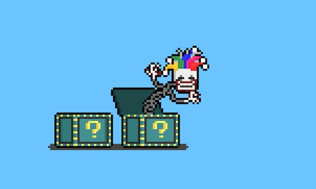 Caja de broma espeluznante de dibujos animados de pixel art.