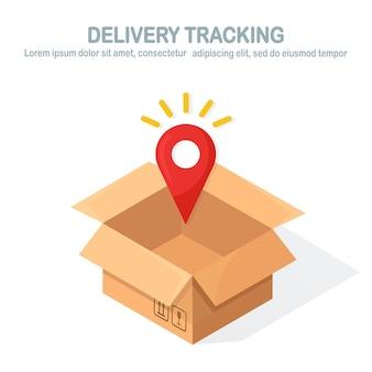 Caja de cartón abierta, caja de cartón con puntero, pin. rastreo de orden. transporte, paquete de envío en tienda, concepto de distribución