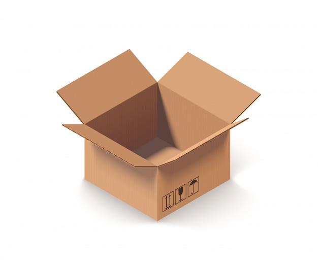 Caja de cartón abierta vacía aislada en blanco isométrica ilustración vectorial