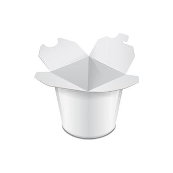 Caja de cartón para alimentos. comida asiática. wok, udon, arroz, kimchi, soba, cristal, fideos de vidrio. modelo