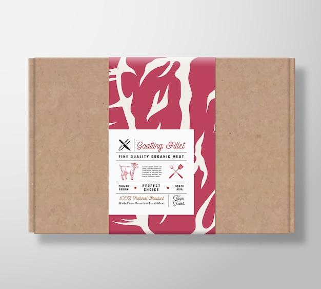 Caja de cartón artesanal de filetes de cabrito de primera calidad. recipiente de papel para carne con