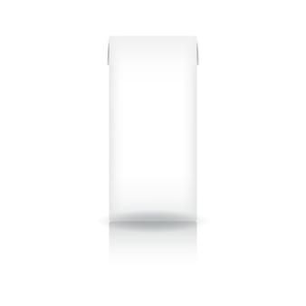 Caja de cartón blanca para leche, jugo, café, té, leche de coco o productos lácteos.
