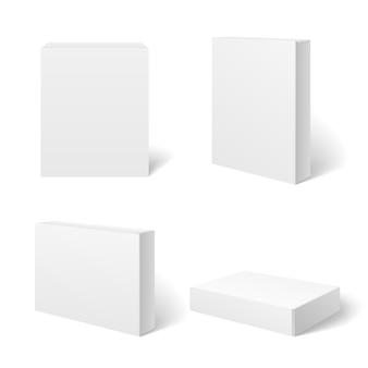 Caja de cartón blanco en blanco en diferentes posiciones.