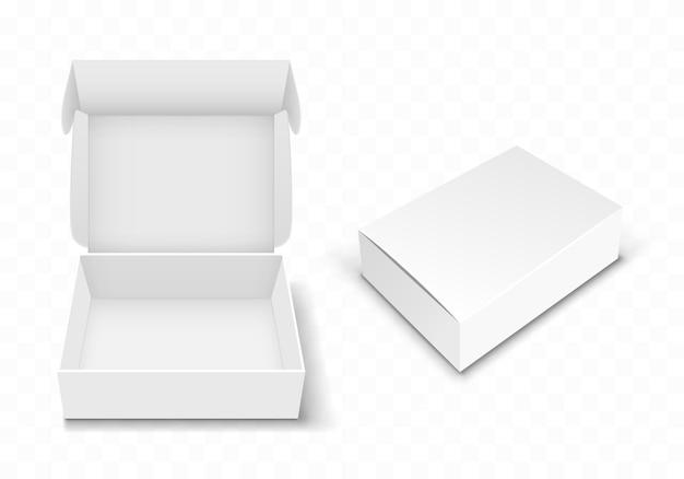 Caja de cartón en blanco blanco con tapa abatible, realista