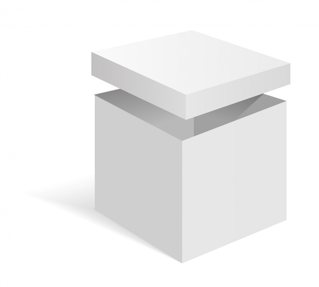 Caja de cartón blanco en blanco.