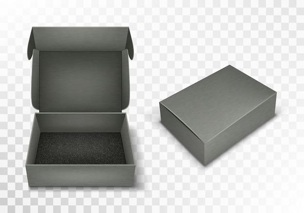 Caja de cartón en blanco gris con tapa abatible, realista