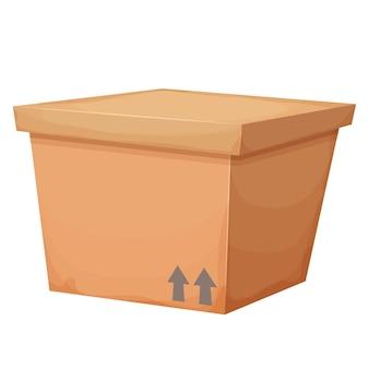 Caja de cartón cerrada en estilo de dibujos animados regalo sorpresa o entrega