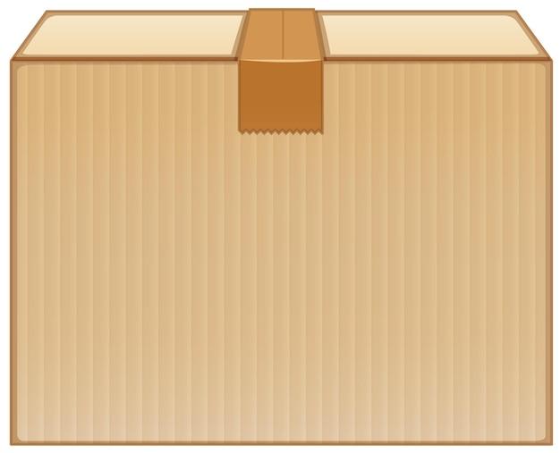 Caja de cartón con cinta marrón sobre fondo blanco.