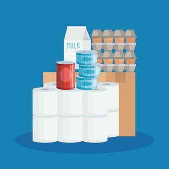 Caja de cartón y comestibles de mercado
