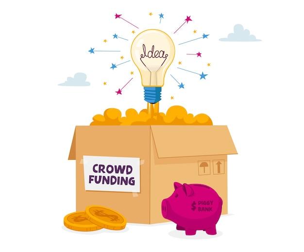 Caja de cartón para donación de crowdfunding con bombilla incandescente, alcancía y pila de monedas de oro alrededor.