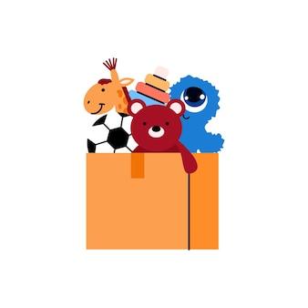 Caja de cartón con ilustración de dibujos animados de juguetes para niños aislado en blanco