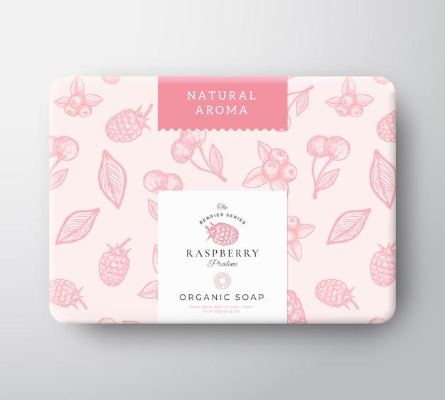 Caja de cartón para jabón de baño de frambuesa. maqueta de contenedor de papel envuelto