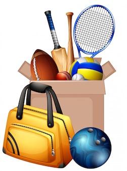 Caja de cartón llena de equipamiento deportivo en blanco