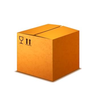 Caja de cartón realista brillante con letreros de carga en blanco