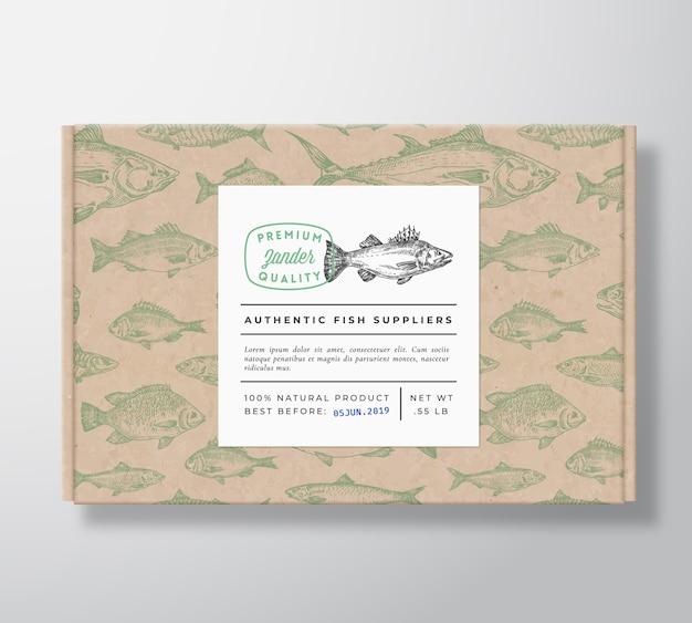 Caja de cartón realista con estampado de peces con banner