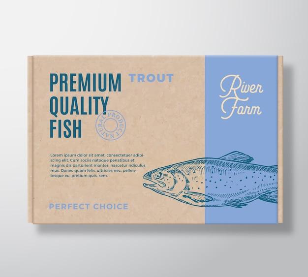Caja de cartón realista de pescado de primera calidad. maqueta de empaque