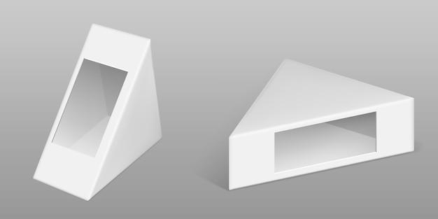 Caja de cartón triangular para juego de sándwich
