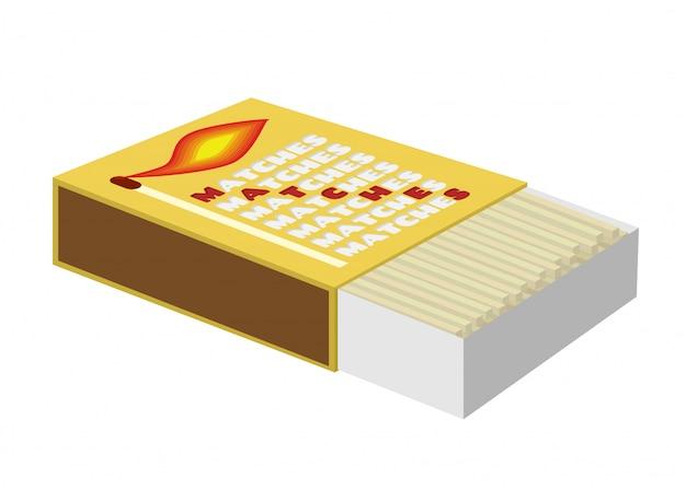 Caja de cerillas, caja de cerillas con palos de madera.