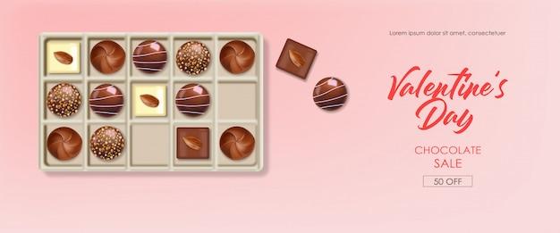 Caja de chocolate realista, delicioso postre, día de san valentín, amor, vista superior colección de bombones de chocolate, chocolate blanco y negro, pancarta
