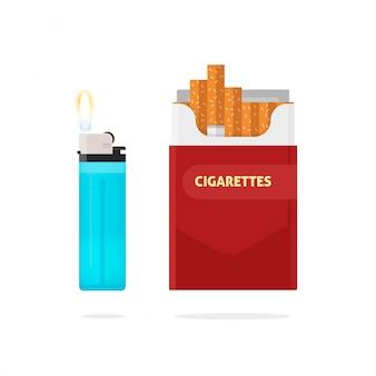 Caja de cigarrillos y encendedor con ilustración de vector de fuego aislado