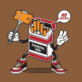 Caja de cigarrillos selfie character