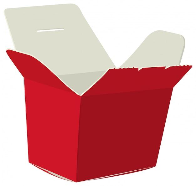 Caja de comida japonesa. caja roja abierta para fideos. caja de carton para sushi