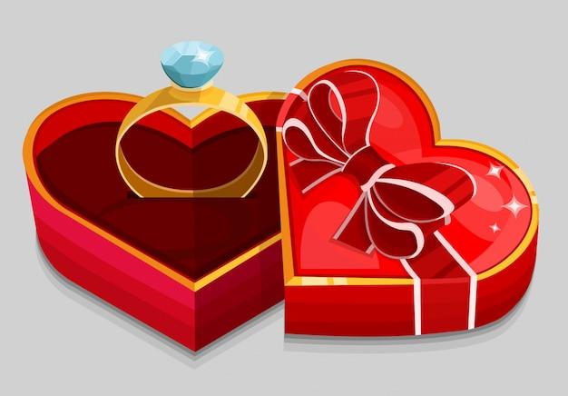 Caja de corazón rojo con anillo