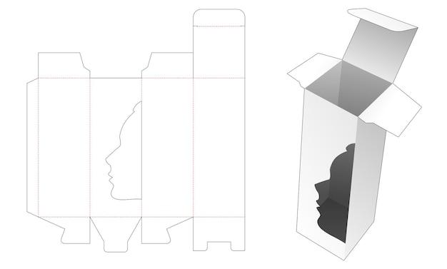 Caja de cosméticos alta con plantilla troquelada de ventana en forma de retrato de mujer