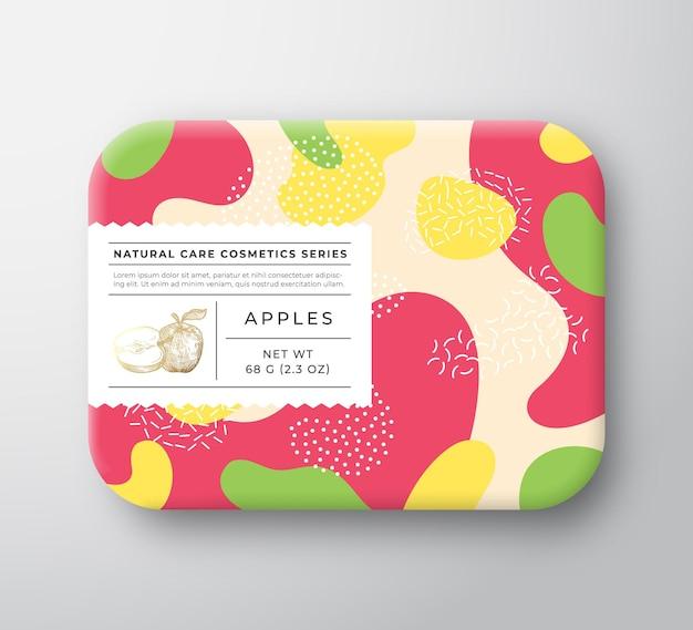 Caja de cosméticos de baño de frutas envuelto en contenedor de papel con etiqueta de cuidado.