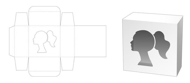 Caja de cosméticos de estaño con plantilla troquelada de ventana en forma de retrato de mujer