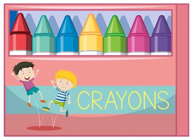 Caja de crayones de colores.
