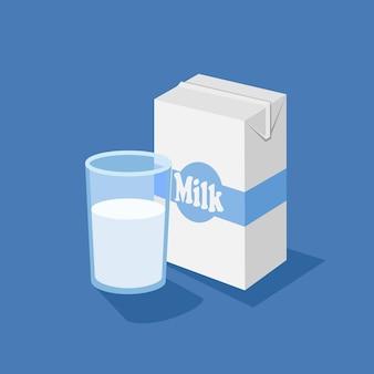 Caja de cristal y leche.