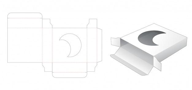 Caja cuadrada de estaño con plantilla troquelada de ventana lunar