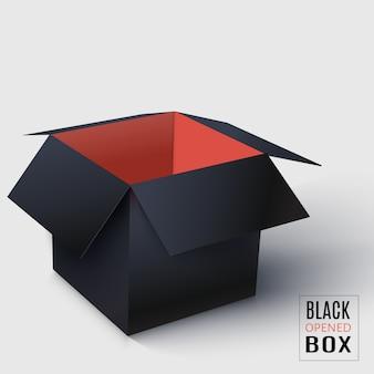 Caja cuadrada negra abierta con interior rojo.