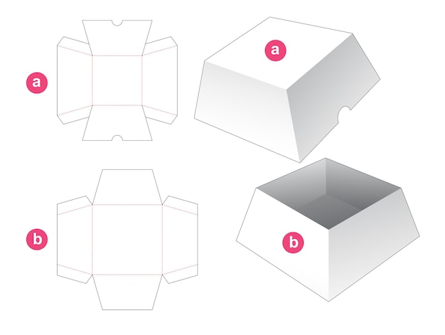 Caja cuadrada trapezoidal con plantilla troquelada de tapa