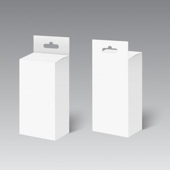 Caja de paquete de producto blanco con ranura para colgar.