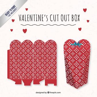 Caja del día de san valentín de corazón rojo