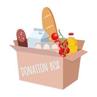 Caja con diferentes alimentos y productos de ayuda. apoye el concepto de asistencia social, voluntariado y caridad. ilustración plana de dibujos animados