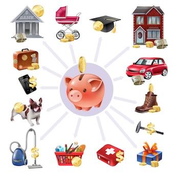 Caja de dinero que guarda los iconos planos de composición