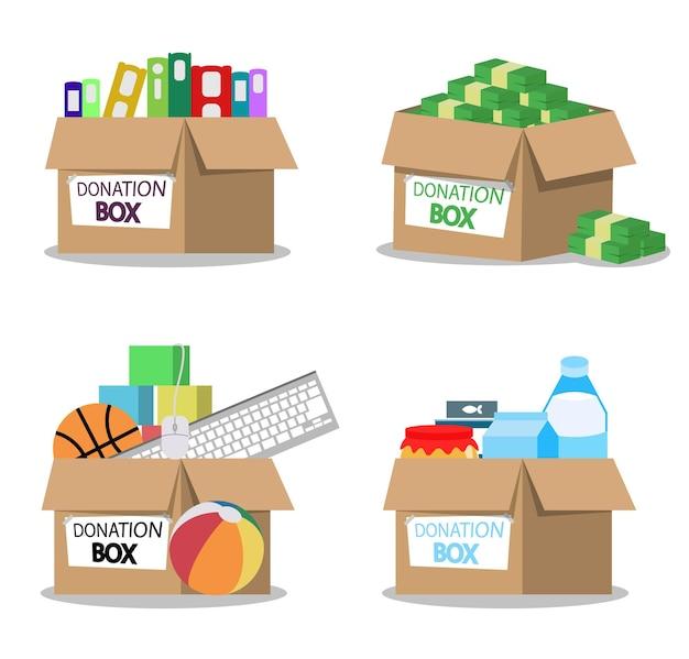 Caja de donación de dibujos animados con inscripción de letras llena de ilustración de cosas