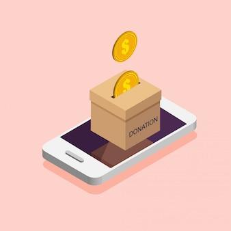 Caja de donación en el teléfono. done, dando dinero en línea. ilustración en estilo isométrico.
