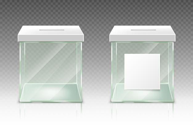 Caja de donación vacía recipiente de votación de plástico de vidrio