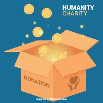 Caja de donaciones con monedas